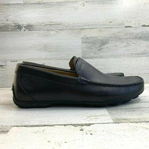GEOX Black Leather U Xense A Slip on Driver Loafer